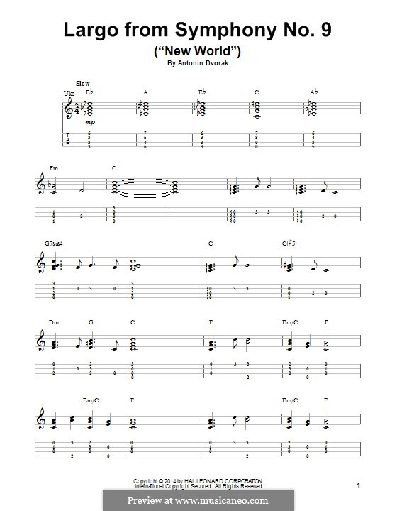 Movement II (Largo) Printable Scores: Theme, for ukulele by Antonín Dvořák