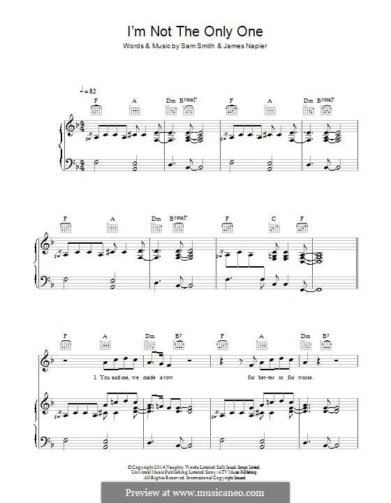 I'm not the Only One: Para vocais e piano (ou Guitarra) by Samuel Smith, James Napier
