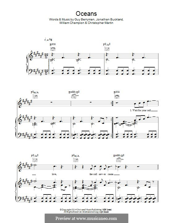Oceans (Coldplay): Para vocais e piano (ou Guitarra) by Chris Martin, Guy Berryman, Jonny Buckland, Will Champion