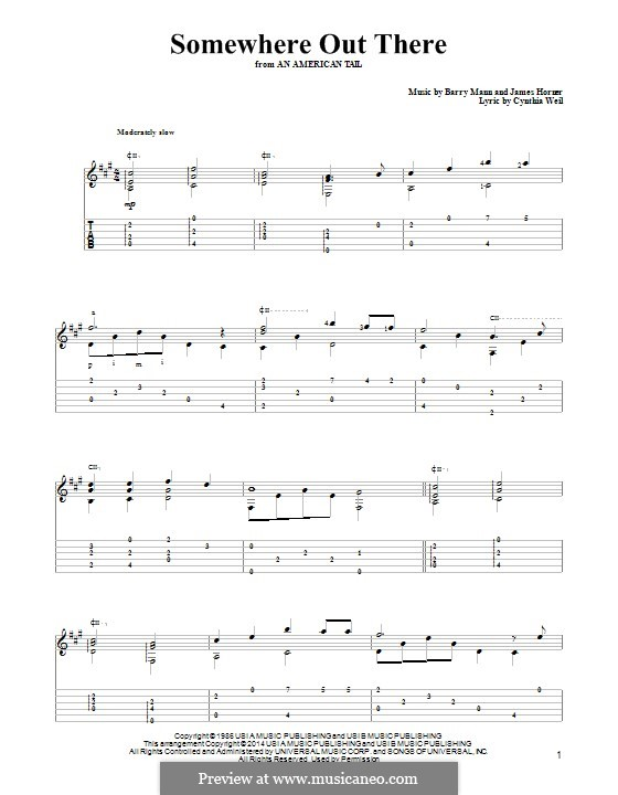 Somewhere Out There (from An American Tail): Para guitarra com guia by Barry Mann, Cynthia Weil, James Horner