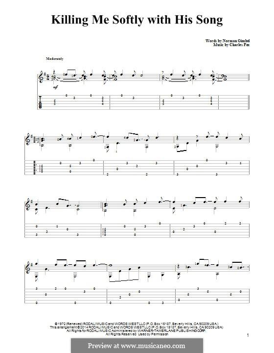 Killing Me Softly with His Song: Para guitarra com guia by Charles Fox