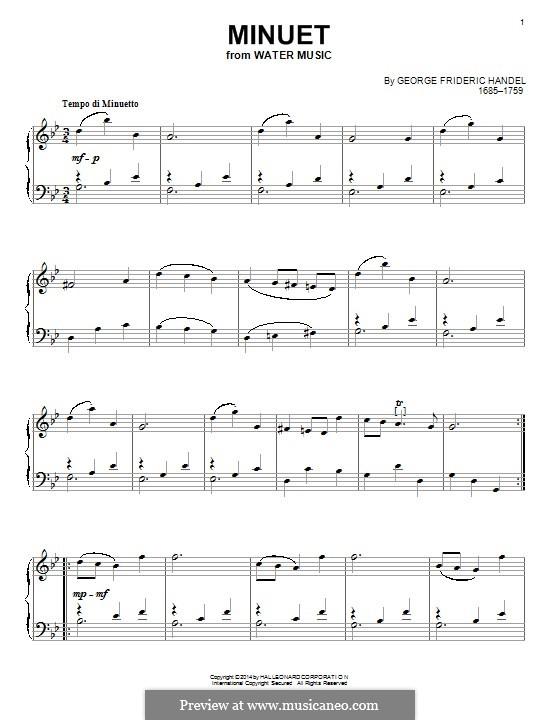 Suite No.3 in G Major, HWV 350: minueto, para piano by Georg Friedrich Händel