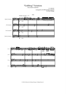 Goldberg Variations, BWV 988: Arrangement for SATB saxophone quartet by Johann Sebastian Bach