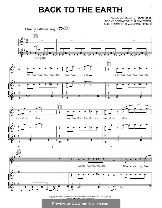 Back to the Earth: Para vocais e piano (ou Guitarra) by Chaska Potter, Jason Mraz, Mai Bloomfield, Mona Tavakoli, Becky Gebhardt