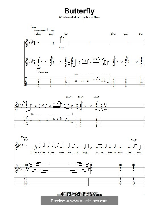 Butterfly: Para guitarra com guia by Jason Mraz