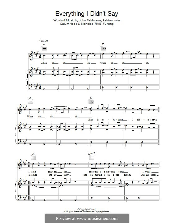 Everything I Didn't Say (5 Seconds of Summer): Para vocais e piano (ou Guitarra) by John Feldmann, Ashton Irwin, Calum Hood, Nicholas Furlong