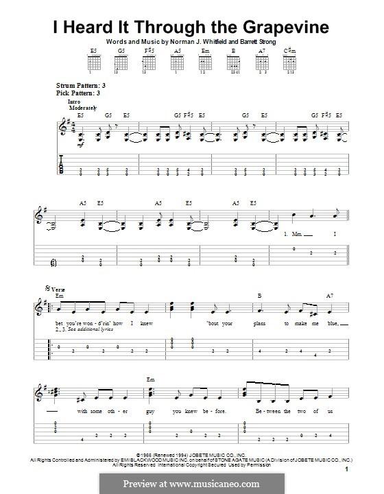 I Heard it Through the Grapevine: Para guitarra com guia by Barrett Strong, Norman J. Whitfield
