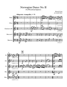 Four Norwegian Dances, Op.35: Dance No.2, for wind quintet – score by Edvard Grieg