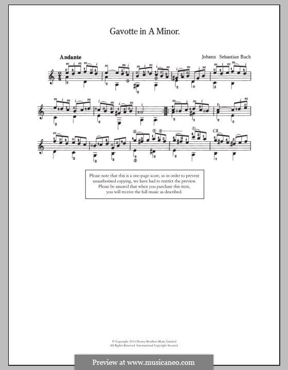 Gavotte in A Minor: Gavotte in A Minor by Johann Sebastian Bach