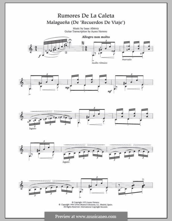 Recuerdos de viaje: No.6 Rumores de la Caleta, for guitar by Isaac Albéniz