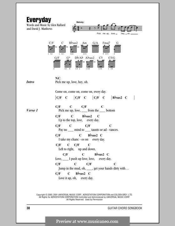 Everyday (Dave Matthews Band): Letras e Acordes by David J. Matthews, Glen Ballard