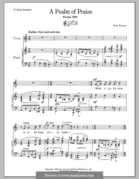 Psalm of Praise (Psalm 100): Para vocais e piano by Ned Rorem