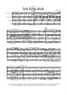 Ich liebe dich (I Love Thee), WoO 123: para quarteto de bronze by Ludwig van Beethoven