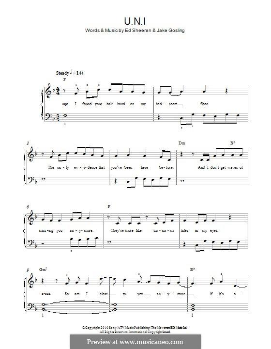 U.N.I: Para Piano by Ed Sheeran, Jake Gosling