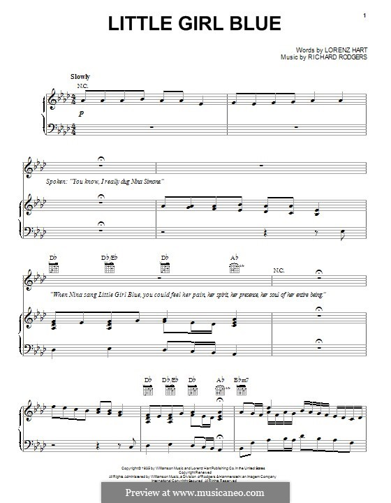 Little Girl Blue: Para vocais e piano (ou Guitarra) by Richard Rodgers