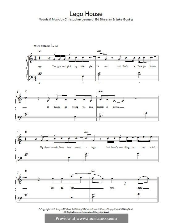 Lego House: Para Piano by Ed Sheeran, Christopher Leonard, Jake Gosling