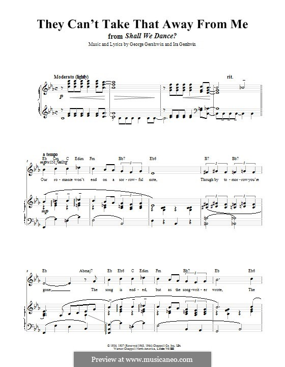 They Can't Take That Away from Me: Para vocais e piano (ou Guitarra) by George Gershwin