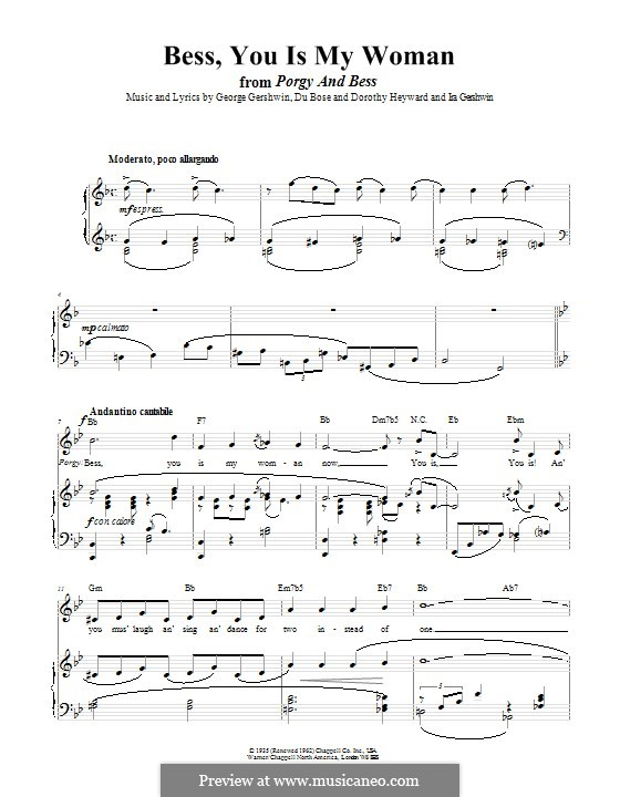 Bess, You Is My Woman Now: Para vocais e piano (ou Guitarra) by George Gershwin