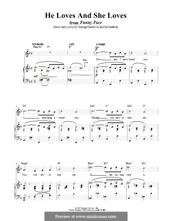 He Loves and She Loves: Para vocais e piano (ou Guitarra) by George Gershwin