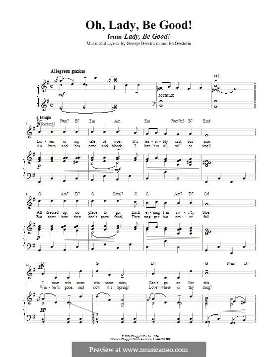 Oh, Lady, Be Good: Para vocais e piano (ou Guitarra) by George Gershwin