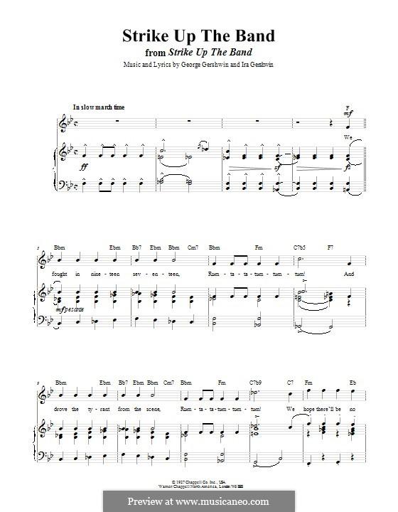 Strike Up the Band: Para vocais e piano (ou Guitarra) by George Gershwin