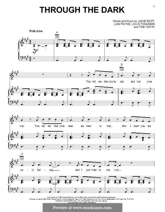 Through the Dark (One Direction): Para vocais e piano (ou Guitarra) by Toby Smith, Jamie Scott, Louis Tomlinson, Liam Payne