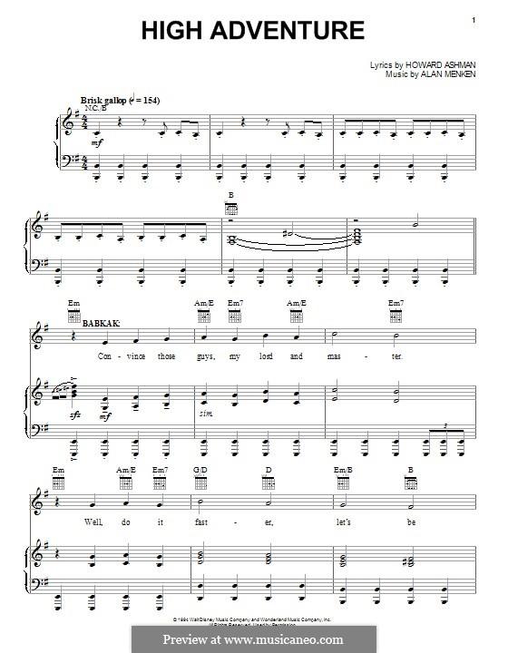 High Adventure: Para vocais e piano (ou Guitarra) by Alan Menken