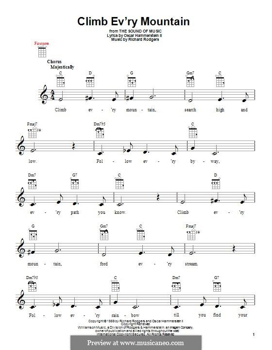 Climb Ev'ry Mountain: para ukulele by Richard Rodgers