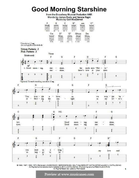 Good Morning Starshine (from Hair): Para guitarra com guia by Galt MacDermot