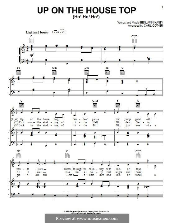 Up on the House Top: Para vocais e piano (ou Guitarra) by Benjamin Russel Hanby