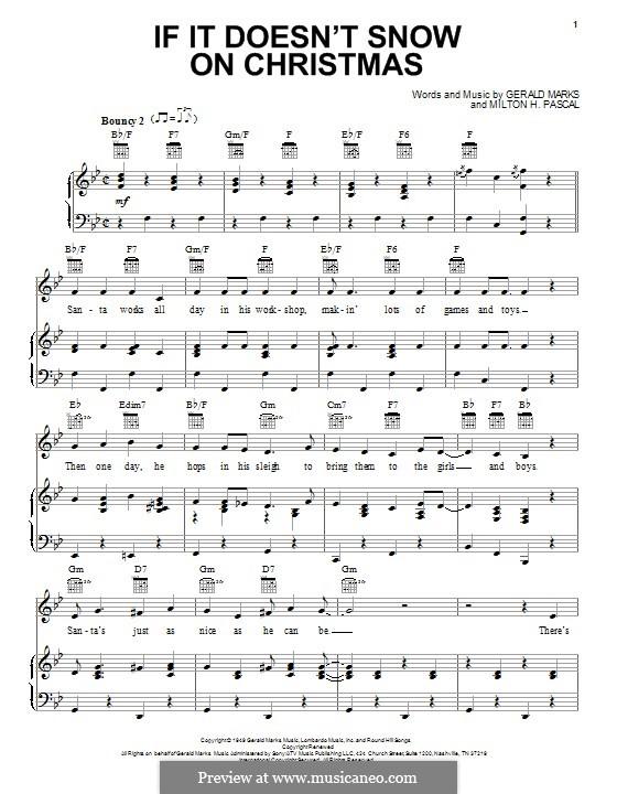 If it Doesn't Snow on Christmas: Para vocais e piano (ou Guitarra) by Gerald Marks, Milton H. Pascal