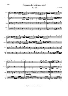 Concerto for Strings in C Minor, RV 118: Score and parts by Antonio Vivaldi
