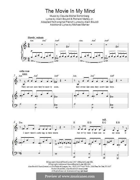 The Movie in My Mind: Para vocais e piano by Claude-Michel Schönberg