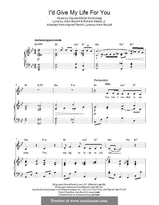 I'd Give My Life for You: Para vocais e piano by Claude-Michel Schönberg