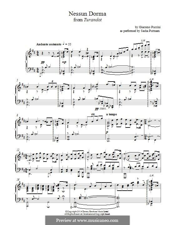 Turandot: Nessun dorma, for piano by Giacomo Puccini