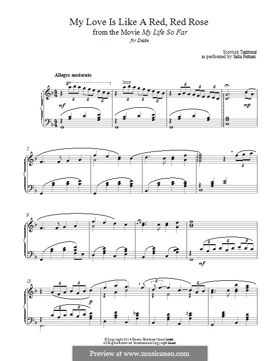 My Love is Like a Red, Red Rose: Para Piano by folklore
