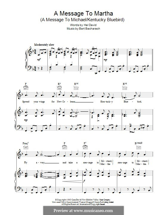 A Message to Martha (A Message to Michael/Kentucky Bluebird): For voice and piano or guitar (Lena Horne) by Burt Bacharach