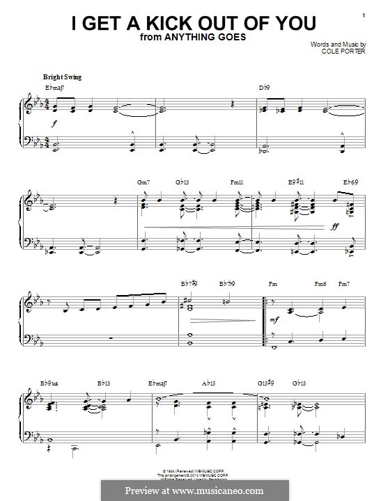 I Get a Kick Out of You (Frank Sinatra): For piano (jazz version) by Cole Porter