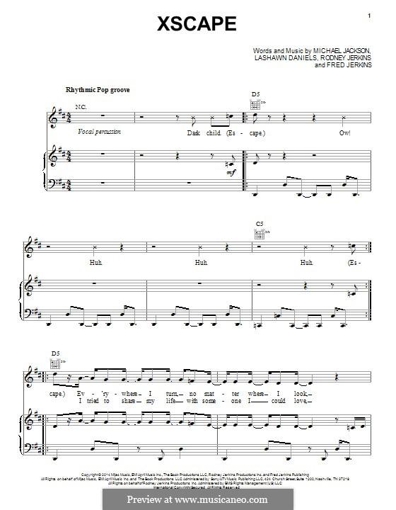 Xscape: Para vocais e piano (ou Guitarra) by Fred Jerkins III, LaShawn Daniels, Michael Jackson, Rodney Jerkins