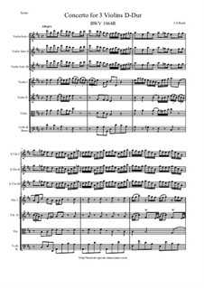 Concerto for Three Violins and Strings, BWV 1064R: Score and all parts by Johann Sebastian Bach