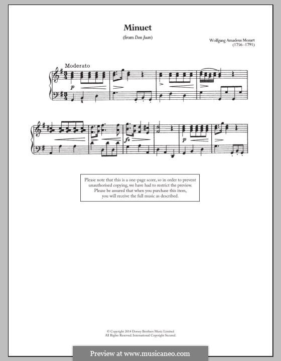 Fragments: minueto, para piano by Wolfgang Amadeus Mozart