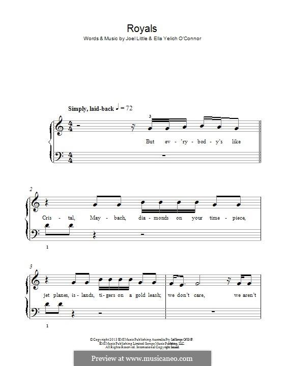 Royals (Lorde): Para Piano by Ella Yelich-O'Connor, Joel Little