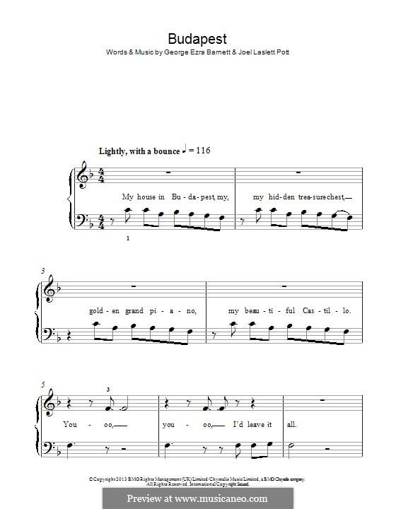 Budapest: Para Piano by Joel Pott, George Ezra Barnett
