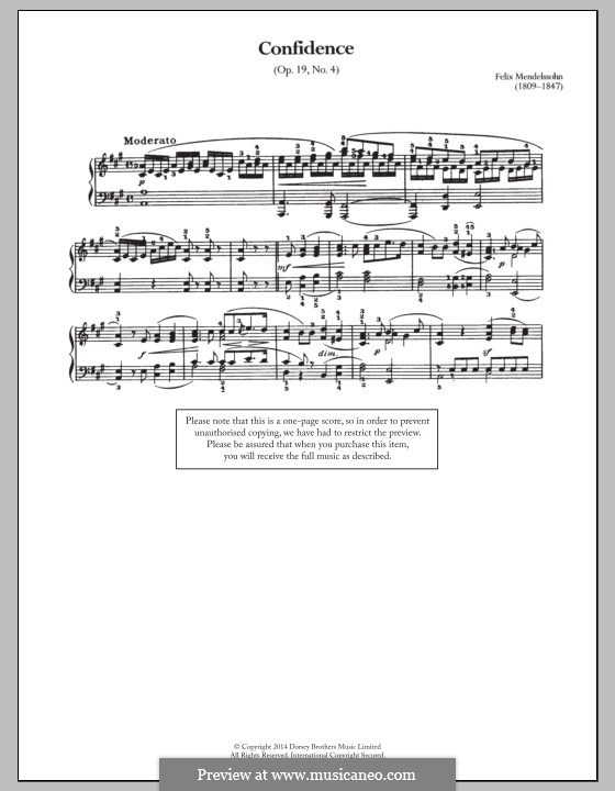 Songs without Words, Op.19b: No.4 Moderato by Felix Mendelssohn-Bartholdy