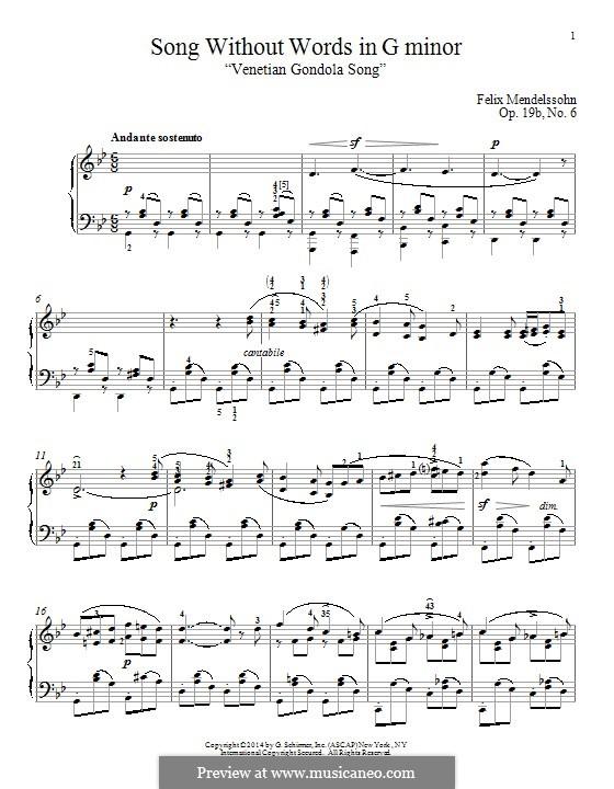 Songs without Words, Op.19b: No.6 Venezianisches Gondellied (Venetian Gondola Song) by Felix Mendelssohn-Bartholdy