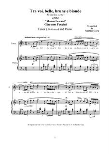 Manon Lescaut : Tra voi belle..., for tenor and piano, CSPG1 by Giacomo Puccini