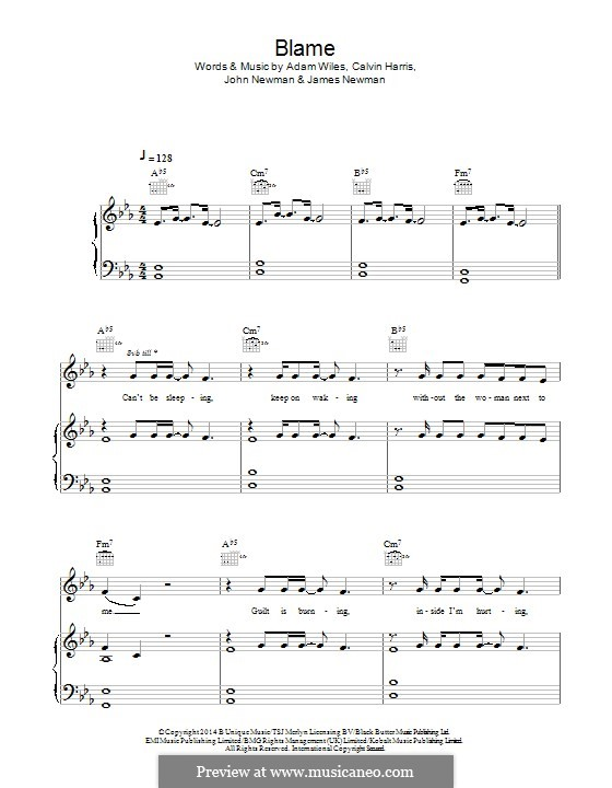 Blame (feat. John Newman): Para vocais e piano (ou Guitarra) by Adam Wiles, Calvin Harris, John Newman, James Newman