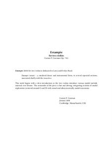 Estampie for two violins, Op.752: Estampie for two violins by Carson Cooman