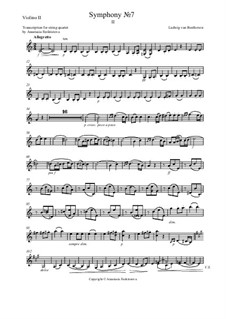 Movement II: Version for string quartet – violin II part by Ludwig van Beethoven