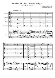 Rondo alla turca: For piano and string orchestra by Wolfgang Amadeus Mozart